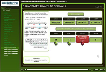 Image of learning module screen showing advanced interactivity.